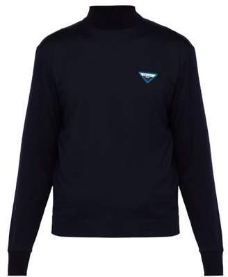 Prada Logo Cotton Jersey Top - Mens - Navy