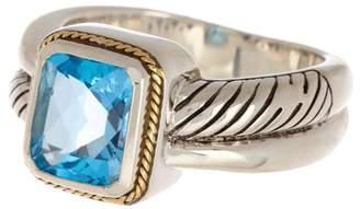 Effy Sterling Silver & 18K Gold Blue Topaz Ring - Size 7