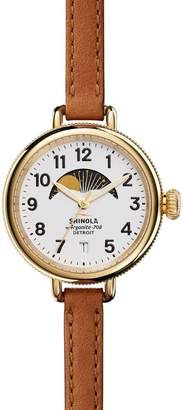 Shinola The Birdy Moon Phase Leather Strap Watch, 34mm