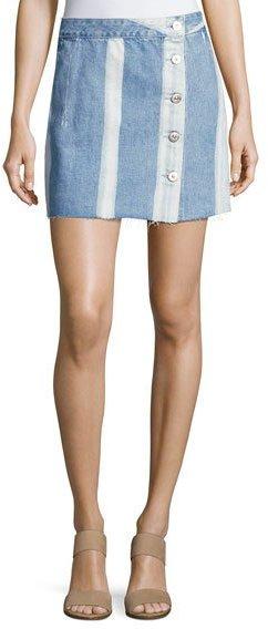 3x13x1 Higher Ground Pinto Stripe Denim Mini Skirt, Blue