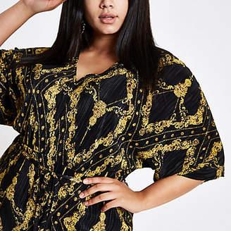 River Island Womens Plus black chain print plisse kimono dress