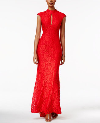 Betsy & Adam Cap-Sleeve Lace Gown $239 thestylecure.com