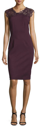 Elie Tahari Rosaly Lace-Yoke Sheath Dress, Bordeaux $398 thestylecure.com