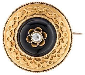 Brooch Victorian Onyx & Diamond Brooch