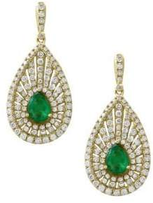 Effy Diamond, Emerald & 14K Yellow Gold Teardrop Earrings