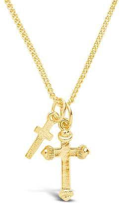 Sterling Forever 14K Yellow Gold Plated Double Cross Pendant Necklace