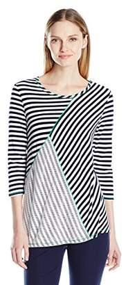 Sag Harbor Women's 3/4 Sleeve Stripe and Mesh Tee with Contrast Coverstitch
