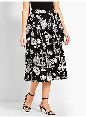 Talbots Graphic Garden Pleated Midi Skirt
