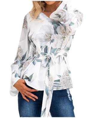 Andopa Women Lacing Long Sleeve Trendy Floral Print V Neck Top T-Shirt Blouse L