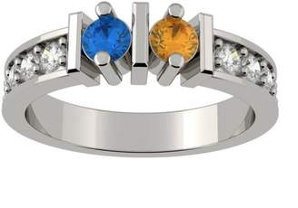 Nana Straight Bar w/Side CZs Couples 2 stones Ring with His & Hers - Sterling Silver - Size 8