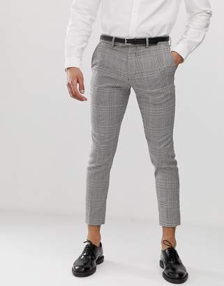Moss Bros cropped slim pants in bold check