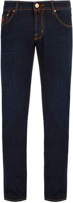 Jacob Cohen Red leather badge slim-fit jeans