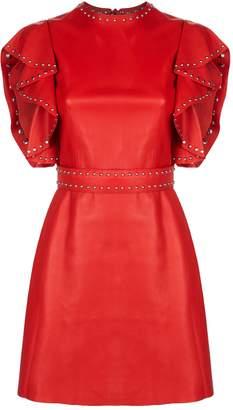 Alexander McQueen Leather Ruffle Sleeve Mini Dress