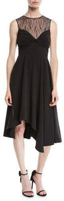 Halston Sleeveless Dress w/ Knot & Lace Details