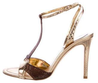 Rene Caovilla Snakeskin High Heel Sandals w/ Tags