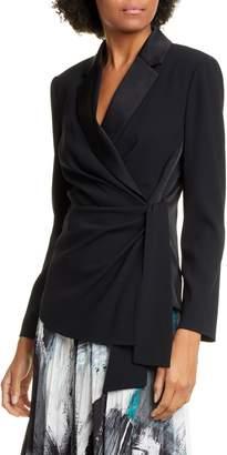 Diane von Furstenberg Lana Satin Shawl Collar Wrap Blouse