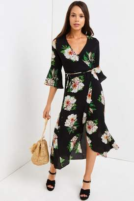 Girls On Film Black Floral Print Midi Dress
