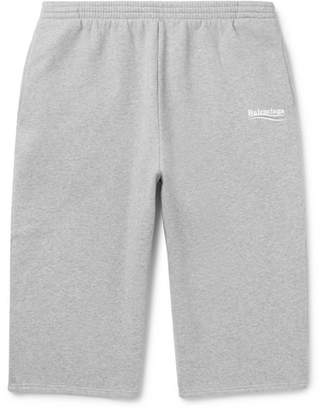 Balenciaga Printed Mélange Fleece-back Cotton-blend Jersey Drawstring Shorts - Gray