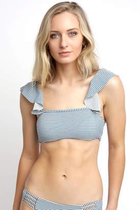Billabong Sea Rinse Striped Ruffle Bikini Top