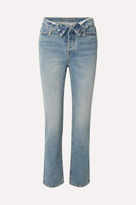 Alexander Wang Cult Flip Fold-over High-rise Straight-leg Jeans - Mid denim