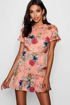 boohoo Floral Lace Up Detail Mini Dress