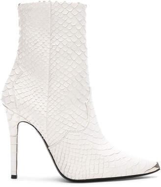 Amiri Western Embossed Snakeskin Boots in White | FWRD