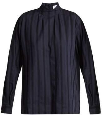 Chimala - Leno High Neck Lace Insert Cotton Blouse - Womens - Navy