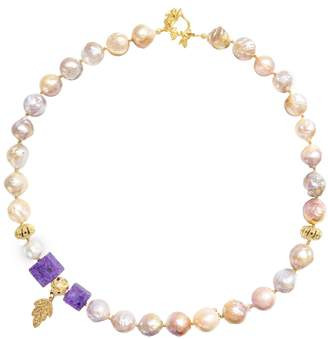 Farra - White Freshwater Pearls & Natural Charoite Necklace