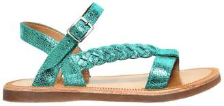 Pom D'Api Crackled Metallic Leather Sandals