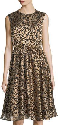 Catherine Malandrino Metallic Burnout A-Line Dress