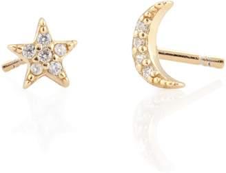 Kris Nations Pave Star & Moon Stud Earrings