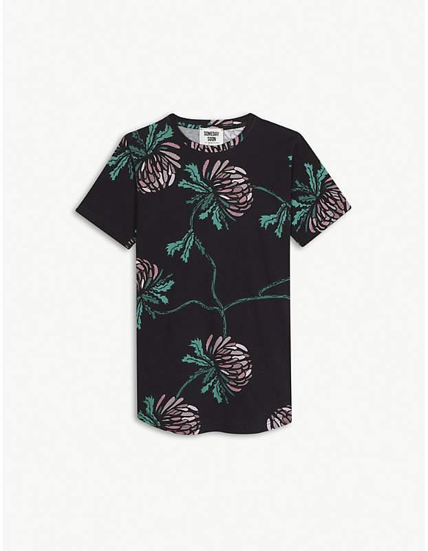Someday Soon Loui thistle print cotton T-shirt 4-14 years
