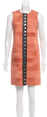Calvin Klein Collection Fur Leather-Trimmed Dress w/ Tags