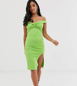 PrettyLittleThing Petite Petite bardot bodycon midi dress with twist front detail in green