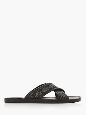 Dune Idium Leather Cross Strap Sandals, Black