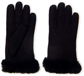 UGG Carter Real Shearling Fur Cuff Leather Gloves