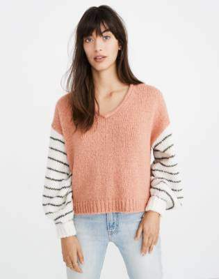 Madewell Balloon-Sleeve Pullover Sweater in Colorblock