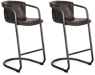 Set of 2 Axl Barstools - Distressed Whiskey Leather - Regina Andrew
