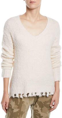 ATM Anthony Thomas Melillo Alpaca-Blend Destroyed V-Neck Sweater