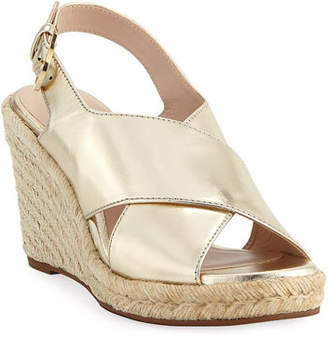 Stuart Weitzman Paris Metallic Espadrille Wedge Sandals