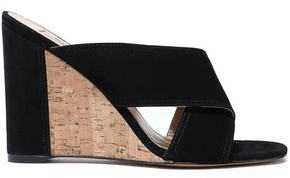 Valentino Suede And Cork Wedge Mules