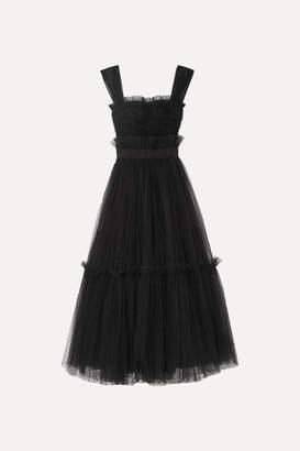 Dolce & Gabbana Appliquéd Ruffled Tulle Gown - Black