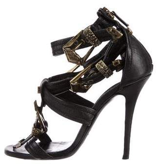 Balmain Buckle Ankle-Strap Sandals