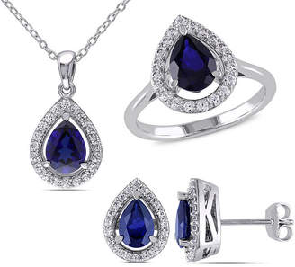 FINE JEWELRY Lab-Created Blue Sapphire and Diamond Sterling Silver Earrings, Ring, and Pendant Necklace 3-Piece Set