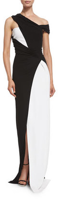 Thierry Mugler Colorblock Draped One-Shoulder Gown, Black/White $3,780 thestylecure.com