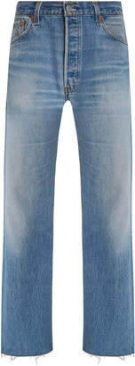 RE/DONE Levis Frayed High-Rise Straight-Leg Jeans