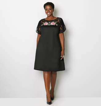 Avenue Lace Embroidered A-Line Dress