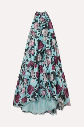 Erdem Belita Asymmetric Ruffled Floral-print Gazar Midi Dress - Blue