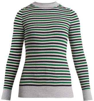 Joostricot - Crew Neck Striped Cotton Blend Sweater - Womens - Green Multi