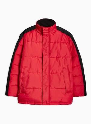 Topman Mens Red Puffer Jacket